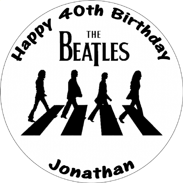 THE BEATLES BLACK & WHITE ABBEY ROAD ROUND BIRTHDAY CAKE TOPPER